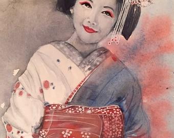 "Watercolor, ""Grâce"", remember the Japan"