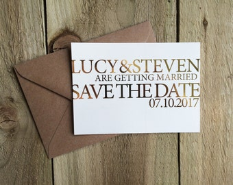 Gold foil save the date, rose gold save the date, silver save the date, copper save the date, modern save the date