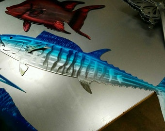 Wahoo metal art fish. Wahoo metal art. Made of high quality aluminum.