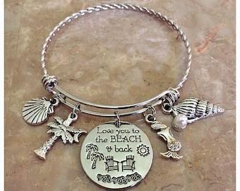 Love You To The Beach and Back Charm Bracelet, Beach Charm Bangle, Beach Bracelet, Beach Jewelry, Stainless Steel, Charm Bracelets