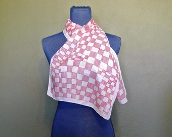 Vera Neumann Mid Century Red and White Checkered Long Scarf