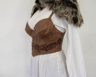 Medieval brown leather corset with celtic dragons; Celtic enterlace corset