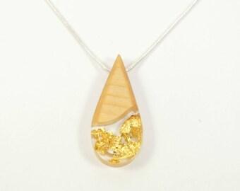Necklace wood- teardrop shape- fir tree-gold leaves in resin- Celtic calendar- Unique