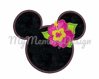 Girl applique design - Summer embroidery design - Miss mouse head design - Hawaii design - Machine embroidery design - INSTANT DOWNLOAD