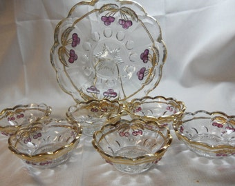 Northwood Cherries & Cable Berry Set - EAPG - 1 large berry bowl and 6 small berry bowls
