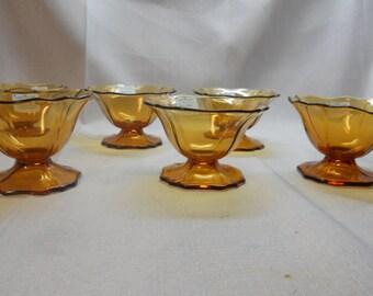 Amber transparent sherbets - set of 6