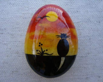 Hand painted stone-black cat-lucky stone-cat stone-stone reproductions-collectibles-miniature stone OOAK