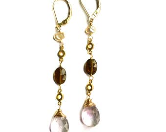 Pink Amethyst, Tourmaline and Freshwater Pearl Earrings--Amethyst Earrings--Tourmaline Earrings--Tourmaline Jewelry