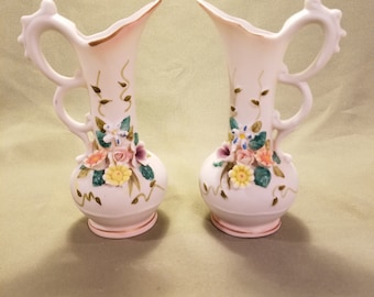 Set of 2 Vintage Lefton Vases