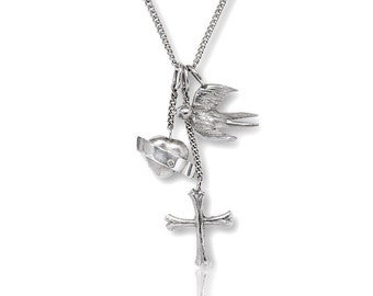 Faith, Love, Hope, pendant in silver with armor chain, gift for women, maritime jewelery