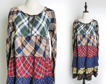 Colourful Plaid Vintage Maxi Women Dress Ruffle Style Wide-Neck 1980s Long Sleeves Size M
