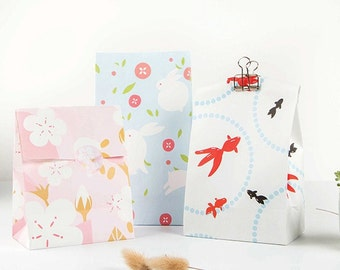 Goldfish and Rabbits Gift Bag Set - Paper Bags - Set of 3 bags - Gift Bags - Bags with Gussets - Favors Bags - Party bags - Pastel gift bags