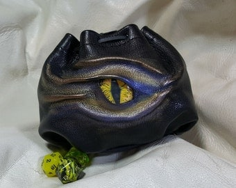 XXXL for 100 Dice  in Soft Black Leather With Extra Large Cabochon Dragons Eye.