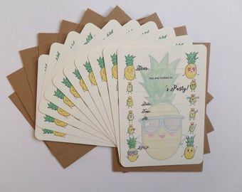 Pineapple Party Invitations, Pineapple Birthday Invites, Personalised Party Invites, Quirky and Cute Invitations, Tea Party Invitations
