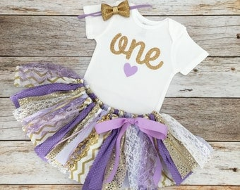 Purple/Lavender and Gold Birthday Outfit with Gold Bow Headband, Sparkly Purple and Gold First Birthday, Lavender and Gold Fabric Tutu