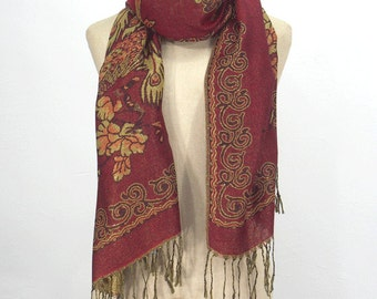10% OFF Peacock Pashmina Scarf,Spring Scarf, Autumm Scarf, Fall Scarf, Oversize Cowl Scarf, Shawl, Women Scarves, Magenta Scarf