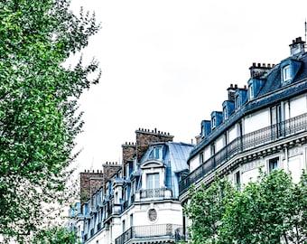 Paris Street Photography - Paris Streets - Wall Art Print - Green Trees - Architecture - Fine Art Photography  - Springtime in Paris - 0020