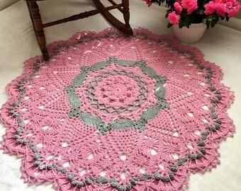 Pink and Gray Doily Rug - Nursery Room Decor - Area Rug - Crochet Lace Rug - Pineapple Doily Rug - Farmhouse Decor - Wedding Gift