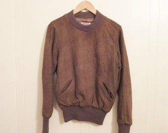 TRUE VINTAGE Ann Taylor Suede Leather Crew Neck Pullover Sweater, Small, 70s, 80s