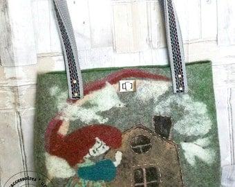 Handmade felted wool designner bag, felt shopper, OOAK fiber art felt tote bag, womens felted bag, art textile felted bag OOAK, gift for her