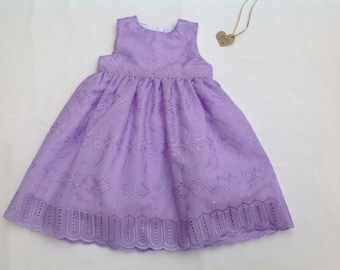 Girls dress,  baby dress, toddler dress, lilac dress, occasion dress, party dress , broidere anglaise dress, fully lined,  6/12months