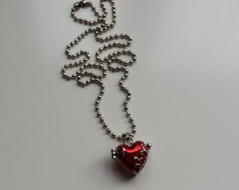 Small heart locket red enamel pendant