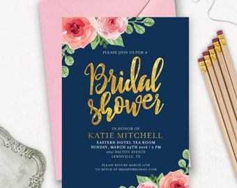 Printable Bridal Shower Invitation / Floral Bridal Shower Invitation Printable / Navy Bridal Shower / Wedding Shower Invitation