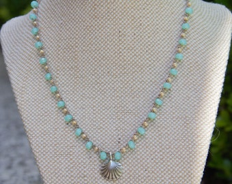 Opaque Turquoise Crochet Necklace, Clam Shell Necklace, Summer Necklace Beaded Necklace