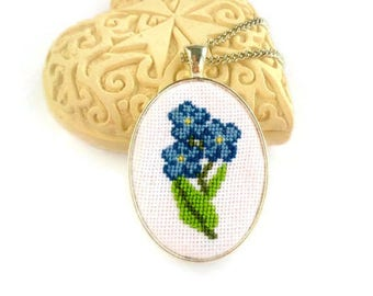 Flower girl gift for goddaughter Forget me not jewelry gift for lover Cross stitch necklace for girlfriend Embroidered jewelry for new mom