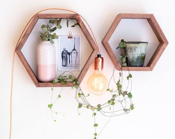 Hexagon Shelf / Floating Shelf - Walnut Stain