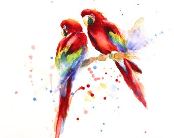 Red Parrots painting, Original watercolor, Boba painting, Watercolor art