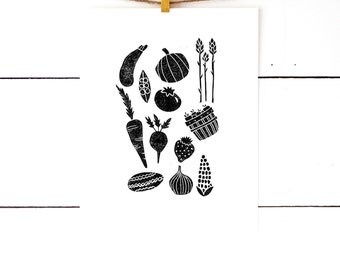 Kitchen Gift, Vegetable Print, Gifts Under 30, Black and White Kitchen Art, Hostess Gift, Linocut, Vegetable Art, Block Print, Gift For Chef