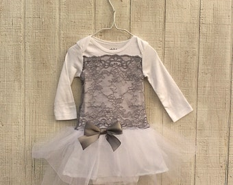 Baby Girl Dress Special Occasion, Baby Wedding Dress, Baby Tutu Outfit, Grey Baby Dress, Infant Flower Girl Dress, Lace and Tulle Baby Dress