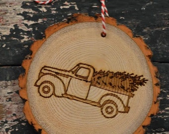 Vintage Truck Wood Slice ornament