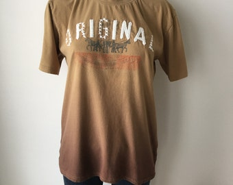 Levis T shirt ombre brown embroidered Levis graphic distressed  soft faded  cotton hipster unisex original gift item chest 40