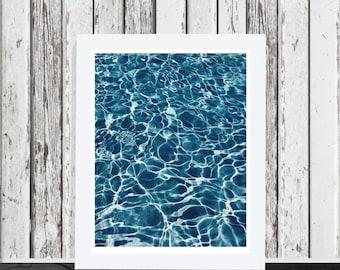 Summer wall art, water ripple, beach print, summer photography, printable modern art, contemporary wall art, Urban, pool art print decor