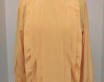 Vintage Yellow Blouse, Women's Blouse, Pleated Blouse, Spring Blouse, Easter Blouse, Courtney Rhodes Blouse