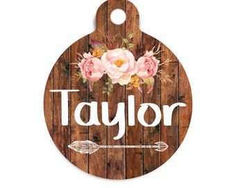 Floral Arrow Pet Id Tag, Tribal Dog Tag for Dogs, Trendy Female Tribal Pet Tag, Girl Dog Tag, Floral Arrow Cat Id Tag, Tribal Wood Pet Tag