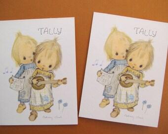 SALE Betsy Clark Tally Card (pair) / Hallmark Tally / banjo duet card