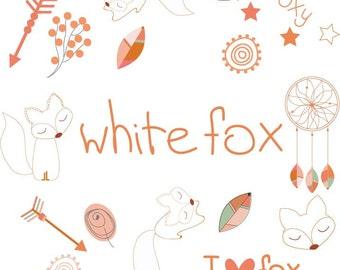 Digital WHITE FOX CLIPART - Png - Diy Kit - White Red Foxy - Dreamcatcher arrows instant Clip Art - Foxy Clipart - Fox Paper