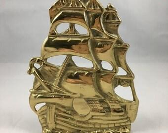 Vintage Brass Sailing Ship Book End