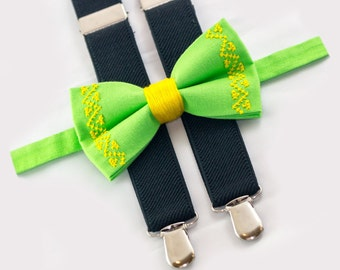 light green bow tie & black suspenders set, wedding boys outfit
