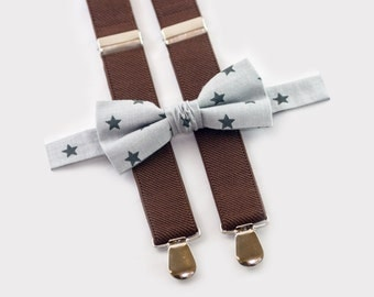 Gray Stars Bow Tie & Brown Suspenders Toddler Bow Tie Toddler Suspenders Adult Bow Tie Adult Suspenders