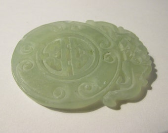 Carved Chinese Hollow Out Translucent Icy Mint Green Jade Pendant of Double Dragons, 2""