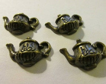 Mini Bronze Teapot Charms for Jewelry Making, 20mm, Set of 4