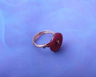Cute Red Button Copper Wire Wrapped Ring - Size UK N - US 6 1/2