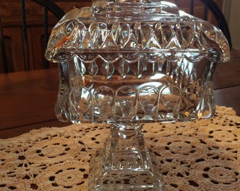 Antique EAPG Crystal Wedding pattern Westmoreland glass pressed glass Crystal Anniversary covered compote dish