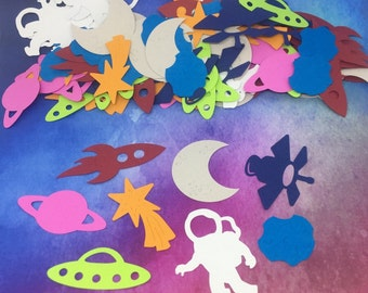 Outer Space / Astronaut Confetti - spaceman, ufo, moon, satellite, astroid, & more!