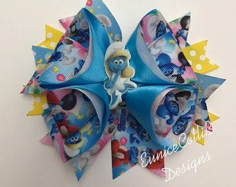 smurf /smurfette inspired hair bow,