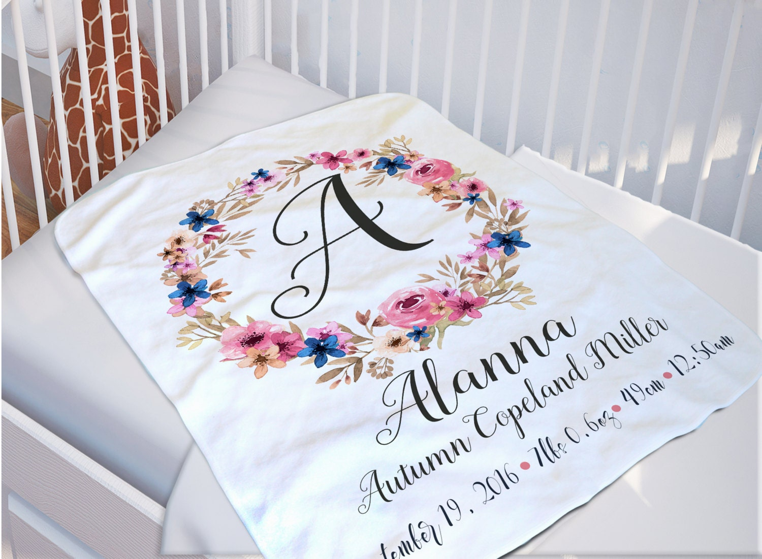 Baby Monogrammed Blanket Baby Name Blanket by SoulStudioPrints